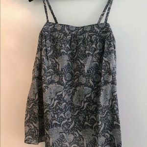 Vince Blue Paisley Tank Top New